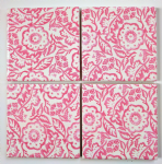4 Ceramic Coasters in Emma Bridgewater Pink Wallpaper Flowers